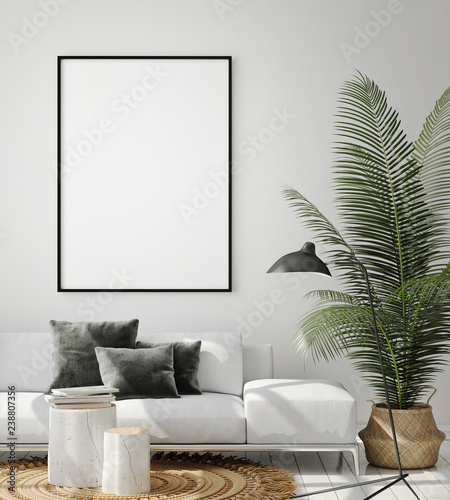 mock up poster frame in modern interior background, living room, Scandinavian style, 3D render, 3D illustration Fototapete