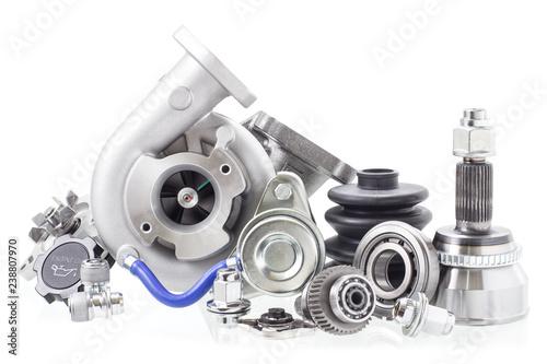 Fényképezés automobile engine parts isolated on white background. Auto shop