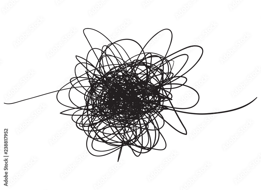 Fototapety, obrazy: Chaos. Abstract tangled texture. Random chaotic lines. Hand drawn dinamic scrawls. Black and white illustration. Background with lines. Universal pattern. Art creation