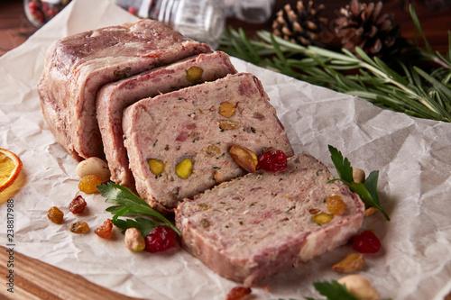 Terrine of ground meat, ham, raisins, pistachios Canvas Print