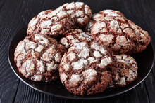 Chocolate Crinkle Cookies On A Platter, Close-up