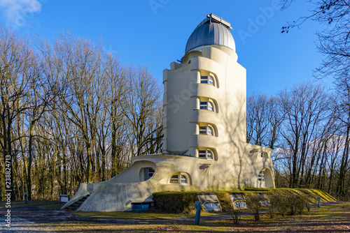 Outdoor scenery outside Einstein Tower or Einsteinturm,  astrophysical observatory building, surround with natural atmosphere in winter in Helmholtz-Centre Potsdam Canvas Print
