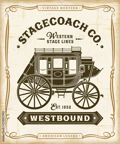 Vintage Western Stagecoach Label Graphics Fototapet