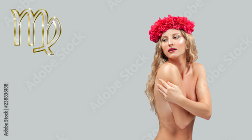 Deurstickers Akt Astrology and horoscope. Virgo Zodiac Sign, Beautiful woman with wreath of flowers.
