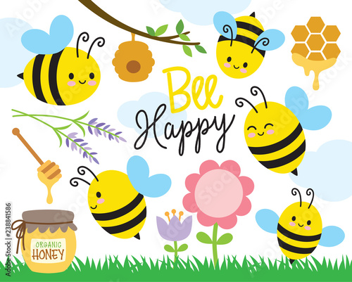 Vector illustration of cute bees and honey. Wallpaper Mural