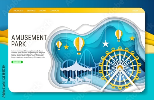 Fotografiet Vector paper cut amusement park landing page website template