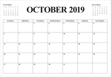October 2019 Monthly Calendar ...