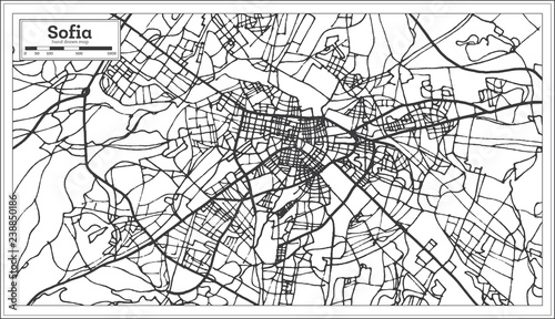 Photo Sofia Bulgaria City Map in Retro Style. Outline Map.