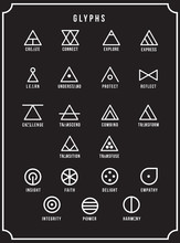 Glyphs Icon Set, Symbolic, Sign, Geometric Design Element