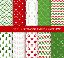 Ten Christmas Different Seamless Patterns. Xmas Endless Texture For Wallpaper, Web Page Background, Wrapping Paper And Etc. Flat Style. Stars, Zigzags, Waves, Christmas Trees And Snowflakes