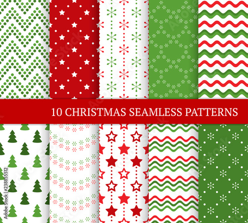 fototapeta na lodówkę Ten Christmas different seamless patterns. Xmas endless texture for wallpaper, web page background, wrapping paper and etc. Flat style. Stars, zigzags, waves, Christmas trees and snowflakes