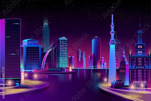 Foto  Vector modern megapolis on river at night