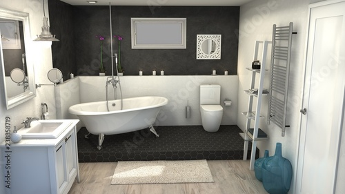 Fototapeta proyecto 3d baño vintage apartamento barcelona  obraz na płótnie