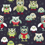 Fototapeta Child room - Hand drawn owls seamless Christmas pattern. Owls at night seamless background. Vector background for fabric, wallpaper, gift wrapping paper. Pajamas pattern. Print for kids, baby, children.