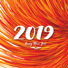 Happy New Year 2019 Background With Abstract Flower