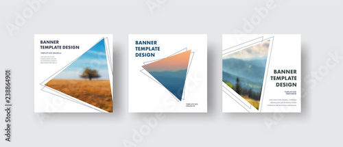 Templates square white web banners standard size with a triangle for the photo.