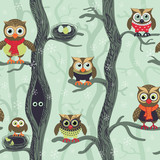 Fototapeta Child room - Owls in winter seamless pattern. Seamless Christmas pattern in Scandinavian style. Owls on a tree in a winter forest. Birds waiting for christmas. Vector background for fabric, textile, wallpaper