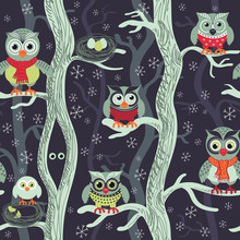 Owls In Winter Seamless Patter...