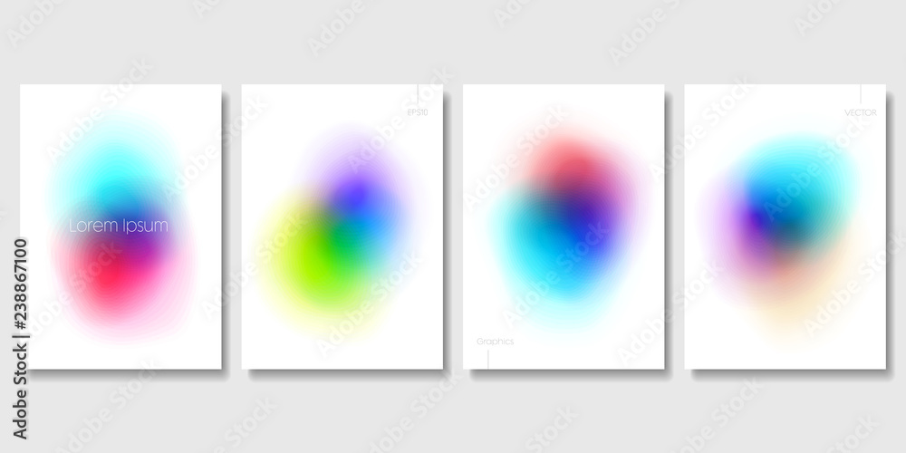 Fototapety, obrazy: Set of Colorful Modern Templates with Abstract Blurred Graphic Elements. Applicable for Banners, Posters, Web Backgrounds and Cover Prints. EPS 10 Vector.
