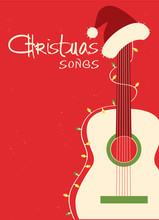 Christmas Songs Guitar And Santa Hat On Red Background.