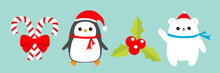 Merry Christmas Icon Set. Candy Cane Stick With Red Bow. Penguin Bird, White Polar Bear Cub Wearing Santa Claus Hat, Scarf. Holly Berry Mistletoe. Blue Background. Flat Design.