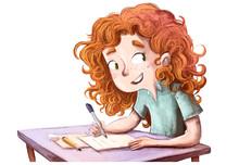 Niña Feliz Escribiendo En El ...