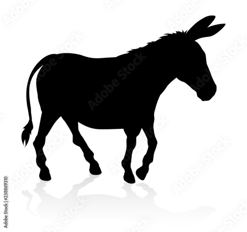 Stampa su Tela A detailed high quality donkey farm animal silhouette