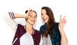 canvas print picture - people and friendship concept - happy smiling pretty teenage girls making gestures over white background