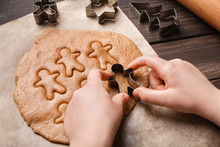 Child Hands Making Festive Christmas Gingerbread Cookies