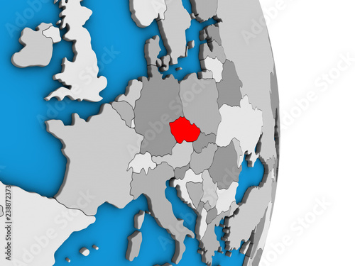 Fotografie, Obraz  Czech republic on simple political 3D globe.