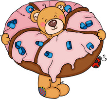 Teddy Bear Inside A Strawberry Donut With Ladybug