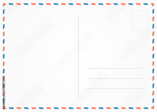 Photo Retro old postcard illustration red and blue borderline.