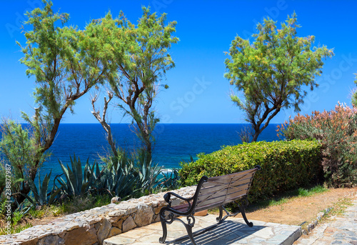 Garden Poster Cyprus Bench with sea view