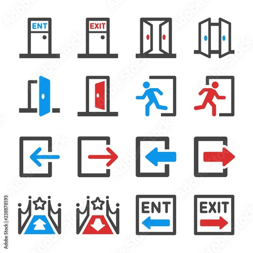 Cuadros en Lienzo entrance and exit icon set,vector and illustration