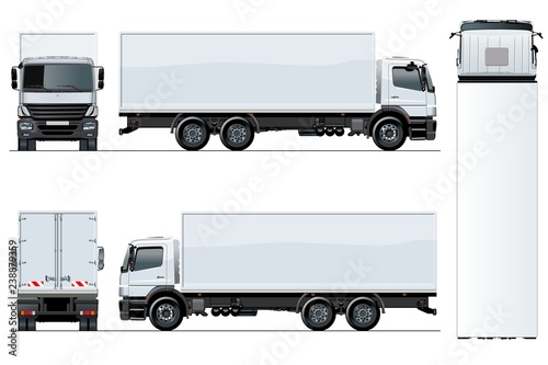 Fotografía  Vector truck template isolated on white background