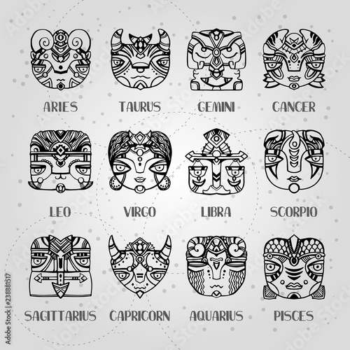 f211cc3e9 Masks zodiac signs horoscope faces. Astrology vector illustration. Twelve  constellations: aries, taurus, gemini, cancer, leo, virgo, libra, scorpio,  ...