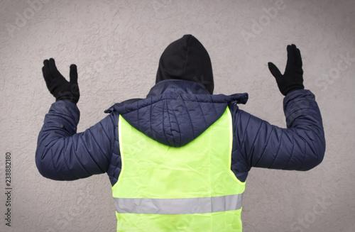 Fényképezés  Man in a yellow vest protesting