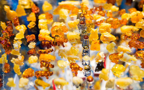 Colorful set of amber - a collection of animal figurines - a typical souvenir fr Canvas Print