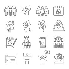 Protest Action Linear Icons Set