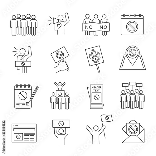 Valokuva  Protest action linear icons set