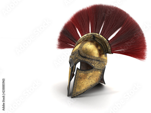 Fotografie, Obraz Spartan helmet with red plumage . 3d illustration