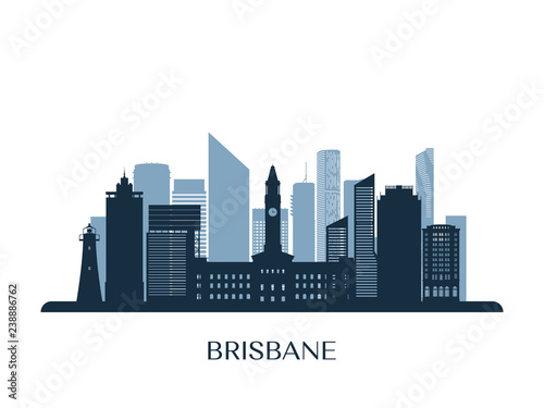 Foto  Brisbane skyline, monochrome silhouette. Vector illustration.
