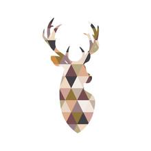 Portrait Of A Deer With Patchwork Texture. Scandinavian Style.