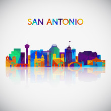 San Antonio Skyline Silhouette In Colorful Geometric Style. Symbol For Your Design. Vector Illustration.