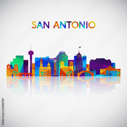 San Antonio skyline silhouette in colorful geometric style Canvas Print