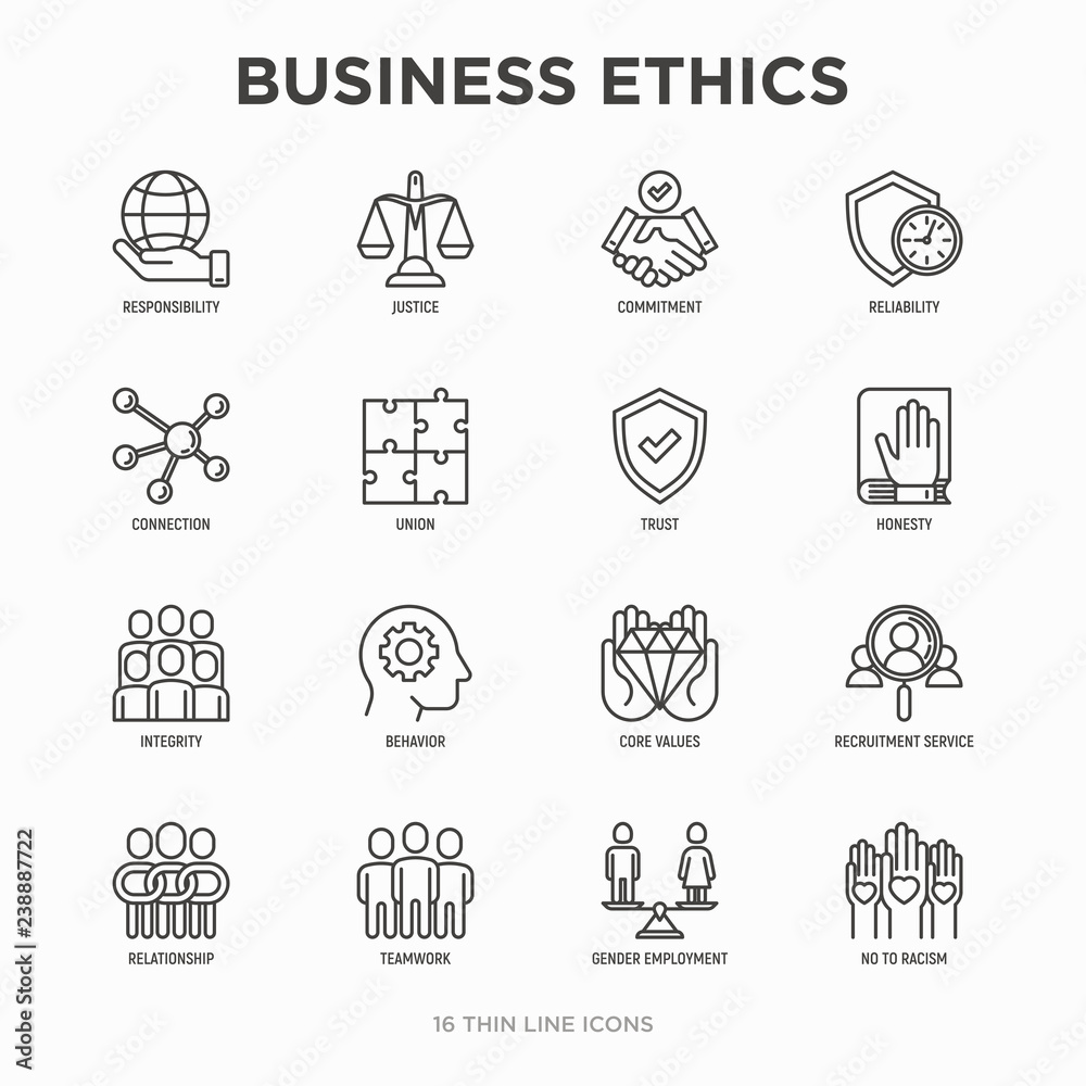 Fototapeta Business ethics thin line icons set: connection, union, trust, honesty, responsibility, justice, commitment, no to racism, recruitment service, teamwork, gender employment. Modern vector illustration.