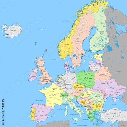 High Resolution Map Of Europe.Europe Political Map High Detail Color Vector Atlas With Capitals