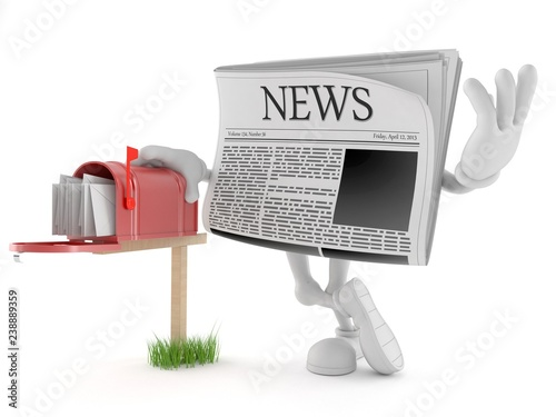 Fotografie, Obraz Newspaper character with mailbox