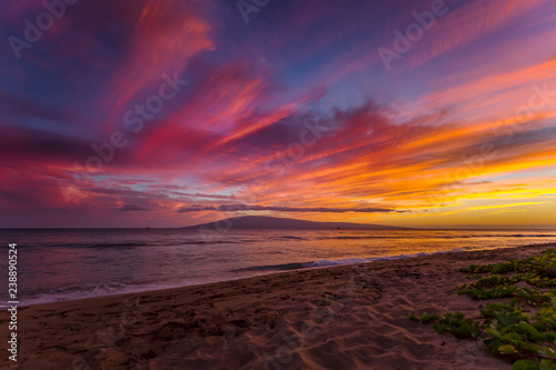 Foto op Plexiglas Crimson Kaanapali Beach on Maui, Hawaii at Sunset