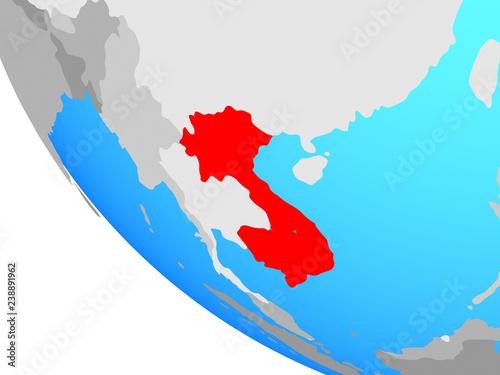 Foto  Indochina on simple globe.